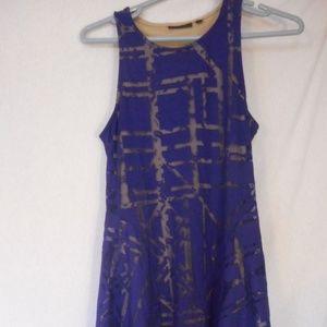 Purple burnout sleeveless handkerchief dress